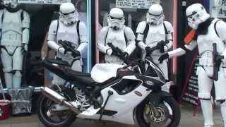 Beautiful Stormtrooper Motorbike outside Jedi-Robe Shop London